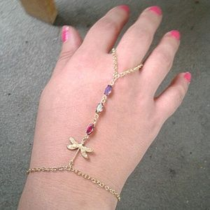 Dragonfly Hand Chain Rainbow Gems Slave Bracelet